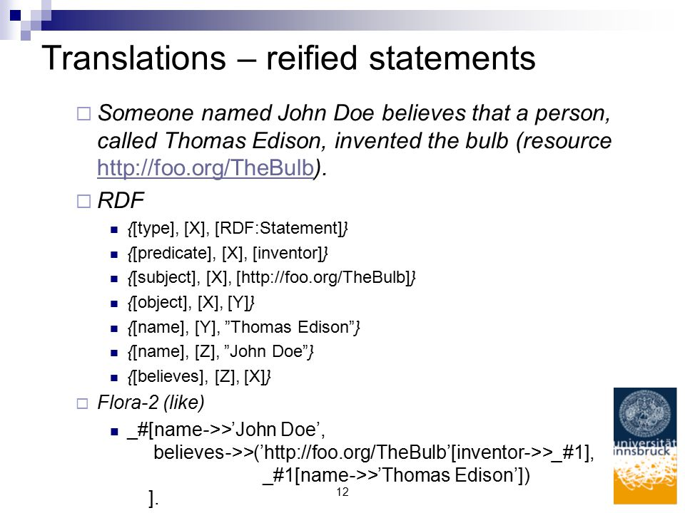 12 Translations – reified statements  Someone named John Doe believes that a person, called Thomas Edison, invented the bulb (resource http://foo.org/TheBulb).