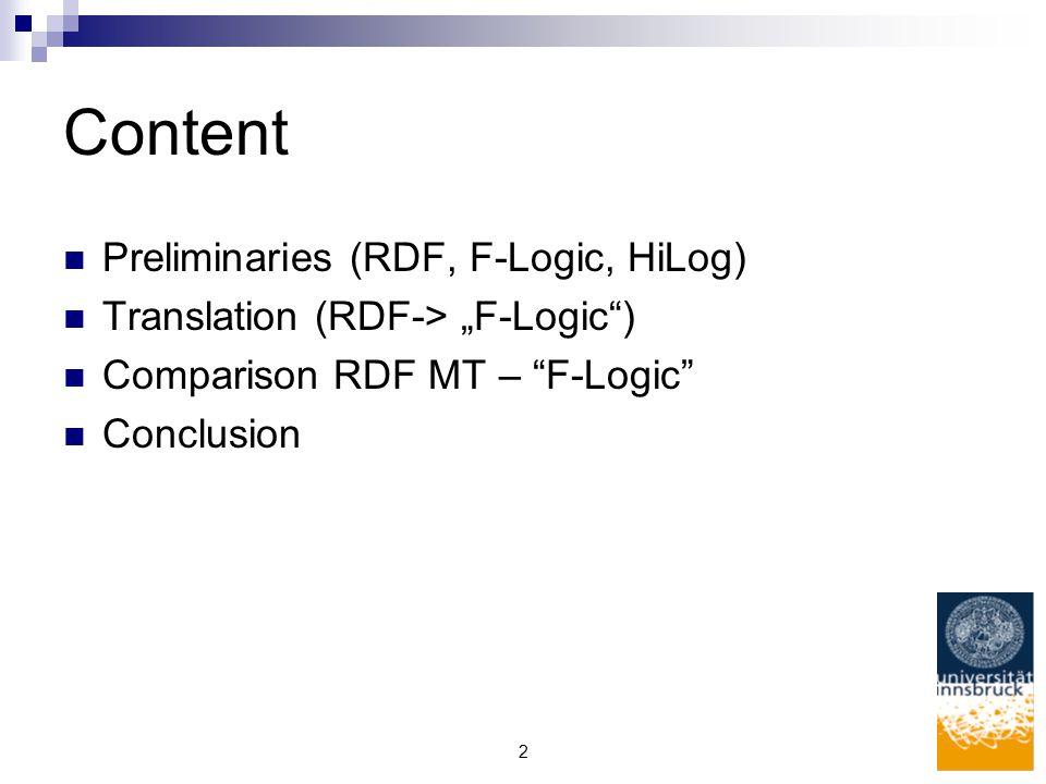 """2 Content Preliminaries (RDF, F-Logic, HiLog) Translation (RDF-> """"F-Logic ) Comparison RDF MT – F-Logic Conclusion"""