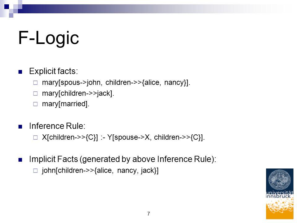 7 F-Logic Explicit facts:  mary[spous->john, children->>{alice, nancy}].