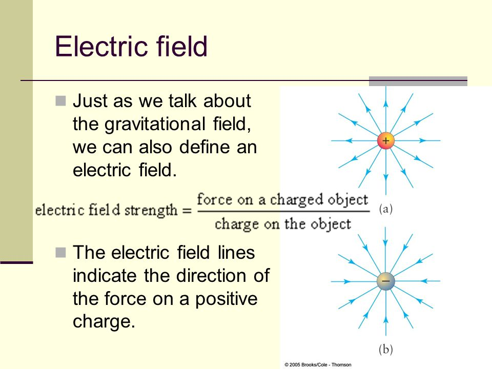 15 Electric field Just as we talk about the gravitational field, we can also define an electric field. The electric field lines indicate the direction