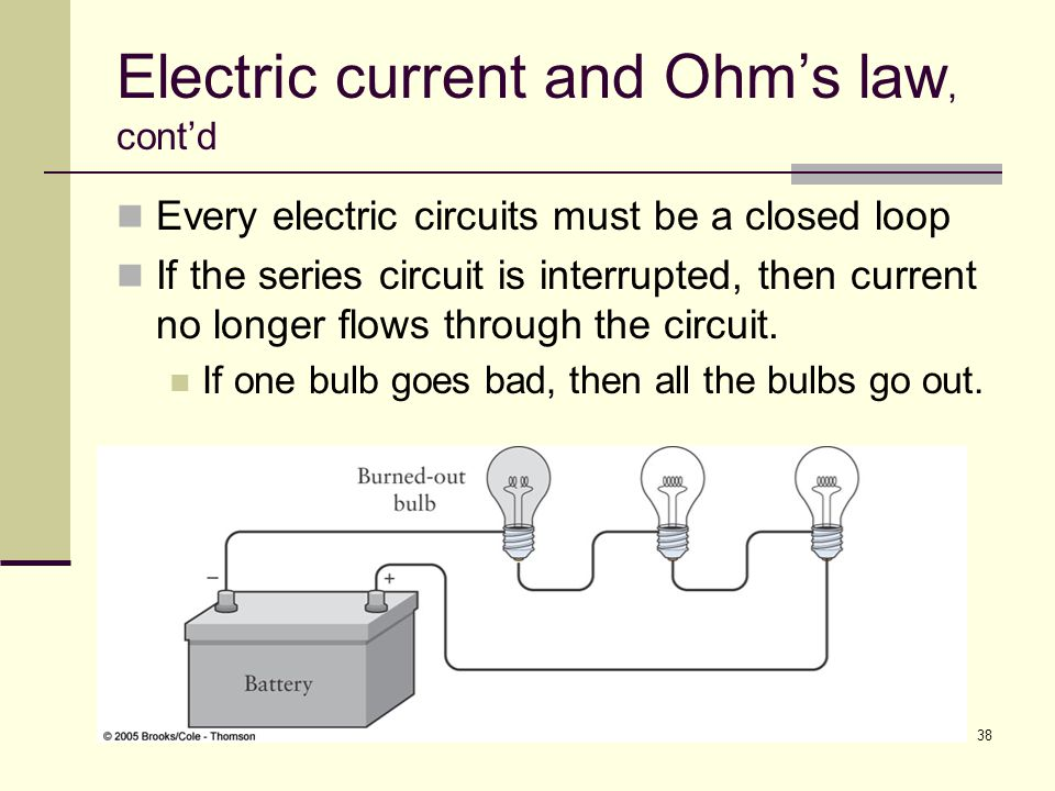 38 Electric current and Ohm's law, cont'd Every electric circuits must be a closed loop If the series circuit is interrupted, then current no longer f