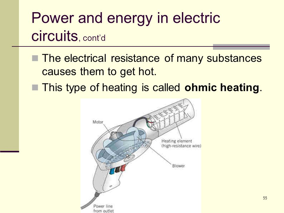 55 Power and energy in electric circuits, cont'd The electrical resistance of many substances causes them to get hot. This type of heating is called o
