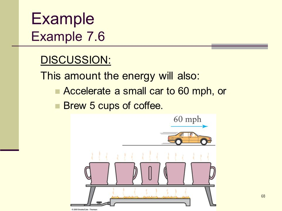68 DISCUSSION: This amount the energy will also: Accelerate a small car to 60 mph, or Brew 5 cups of coffee. Example Example 7.6