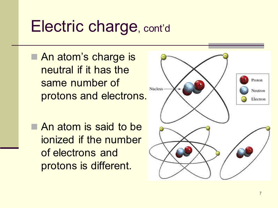 7 Electric charge, cont'd An atom's charge is neutral if it has the same number of protons and electrons. An atom is said to be ionized if the number