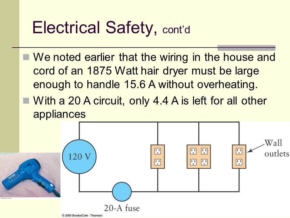 80 We noted earlier that the wiring in the house and cord of an 1875 Watt hair dryer must be large enough to handle 15.6 A without overheating. With a