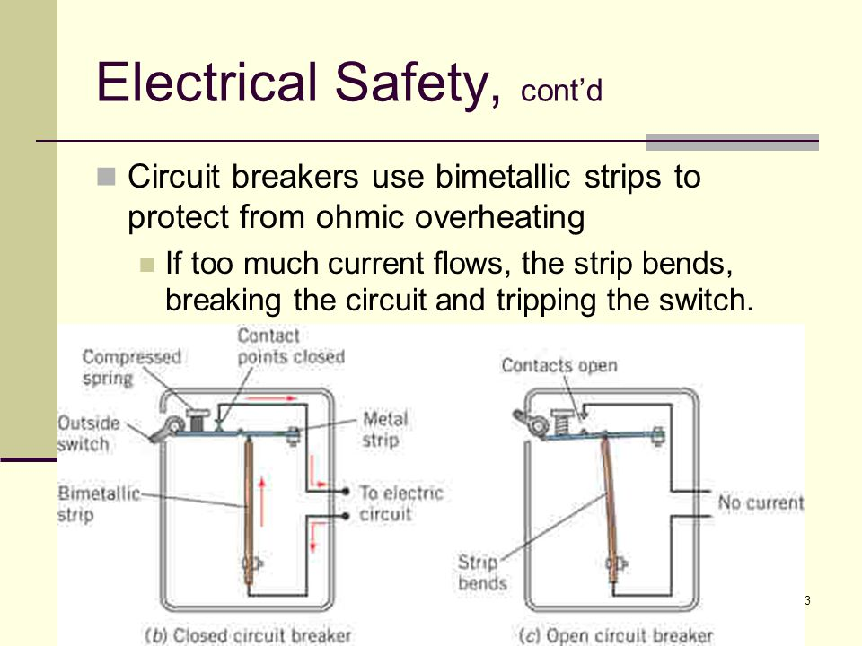 83 Electrical Safety, cont'd Circuit breakers use bimetallic strips to protect from ohmic overheating If too much current flows, the strip bends, brea