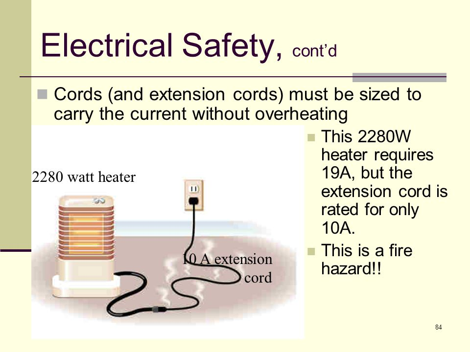 84 Electrical Safety, cont'd This 2280W heater requires 19A, but the extension cord is rated for only 10A. This is a fire hazard!! 2280 watt heater 10
