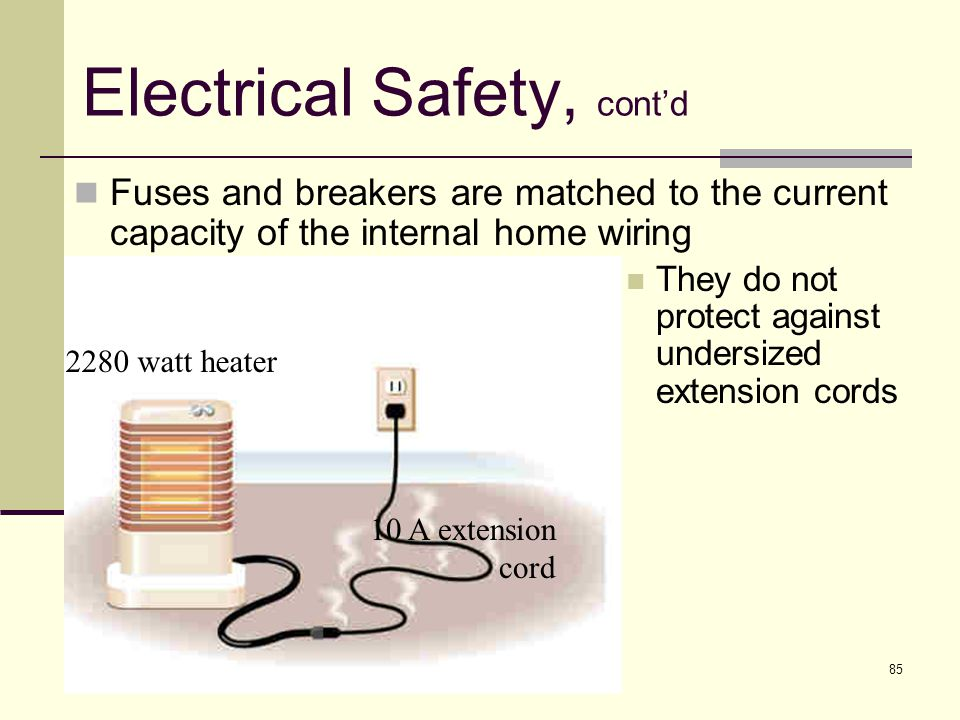 85 Electrical Safety, cont'd They do not protect against undersized extension cords 2280 watt heater 10 A extension cord Fuses and breakers are matche