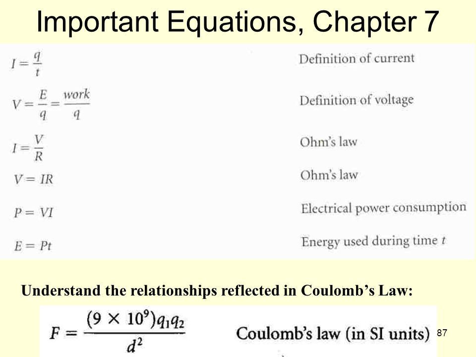 87 Important Equations, Chapter 7 Understand the relationships reflected in Coulomb's Law: