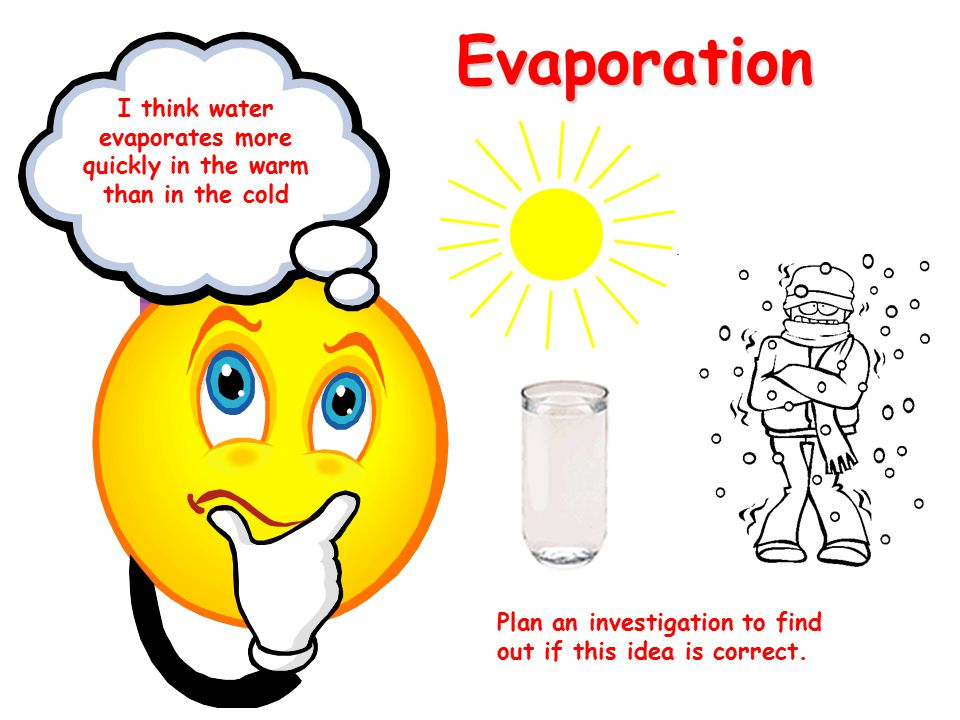 Evaporation Plan an investigation to find out if this idea is correct. I think water evaporates more quickly in the warm than in the cold