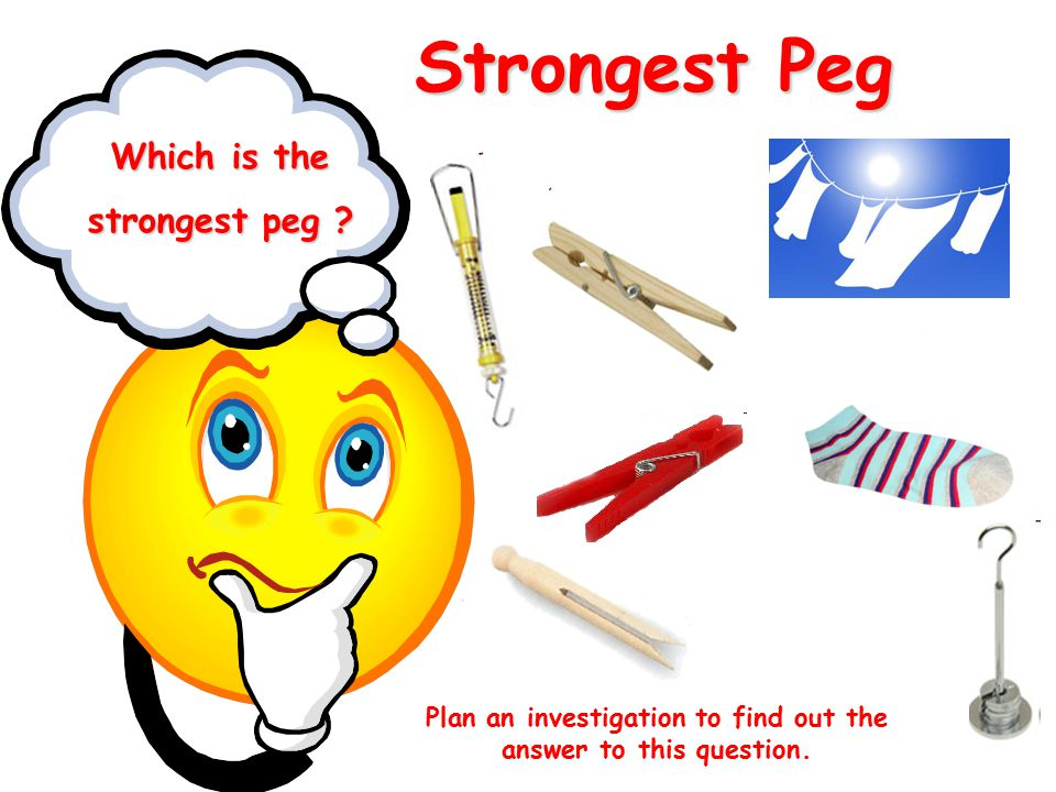 Strongest Peg Which is the strongest peg ? Plan an investigation to find out the answer to this question.