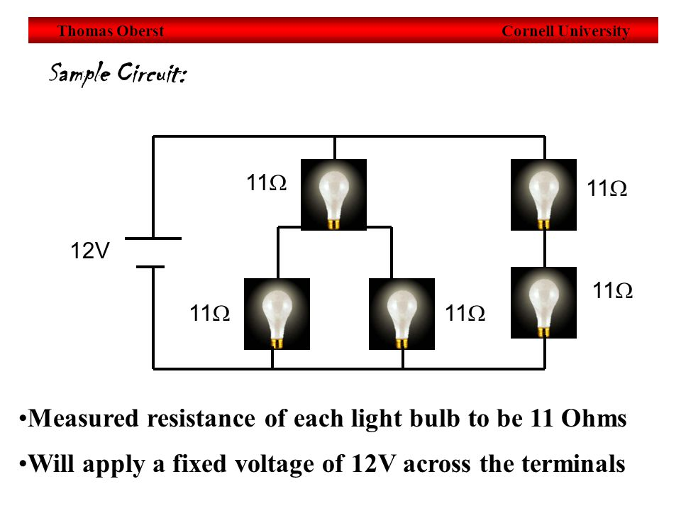 Thomas Oberst Cornell University Sample Circuit: Measured resistance of each light bulb to be 11 Ohms 12V 11  Will apply a fixed voltage of 12V across the terminals