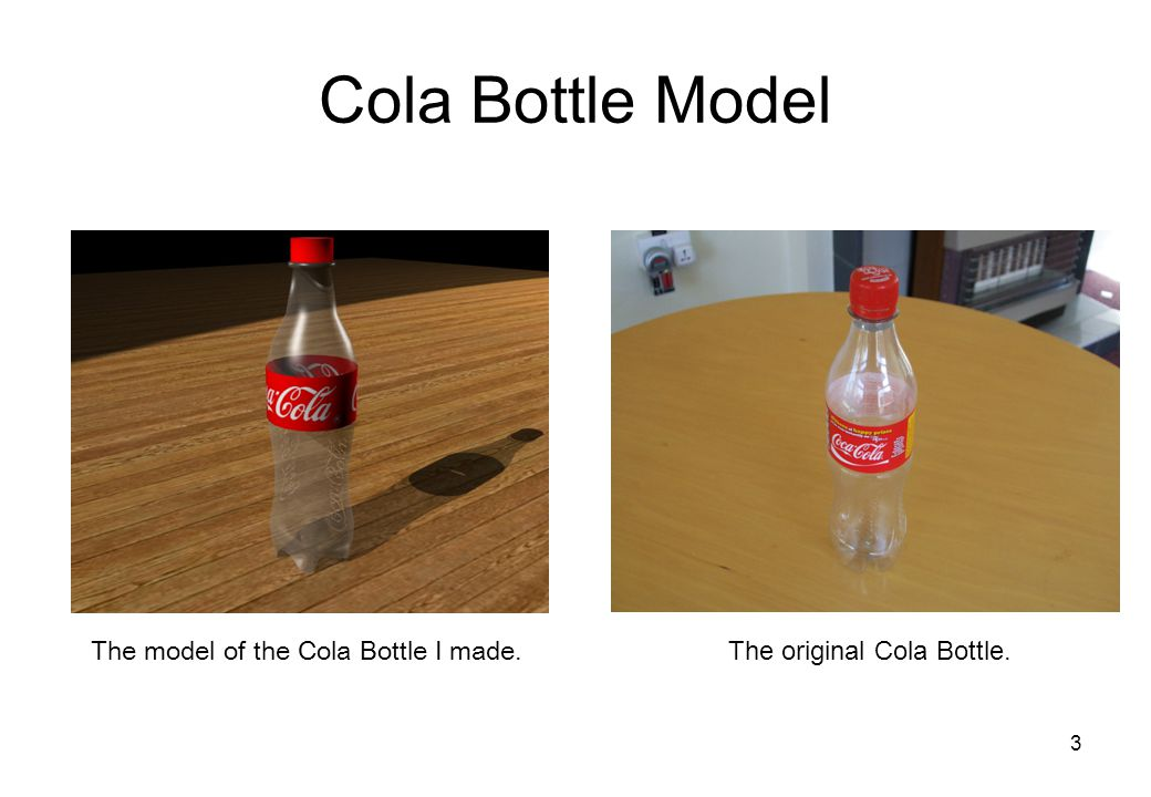 3 Cola Bottle Model The model of the Cola Bottle I made. The original Cola Bottle.