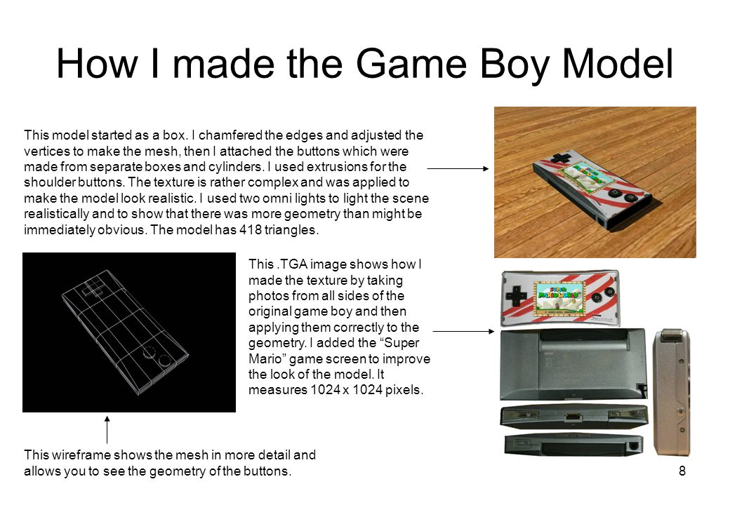 8 How I made the Game Boy Model This model started as a box.
