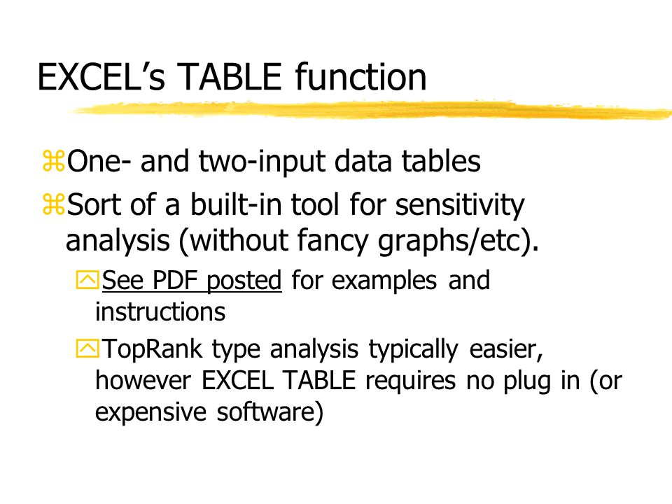 EXCEL's TABLE function zOne- and two-input data tables zSort of a built-in tool for sensitivity analysis (without fancy graphs/etc).