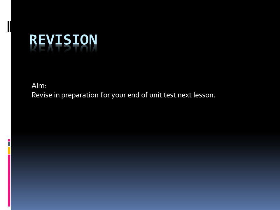 Aim: Revise in preparation for your end of unit test next lesson.