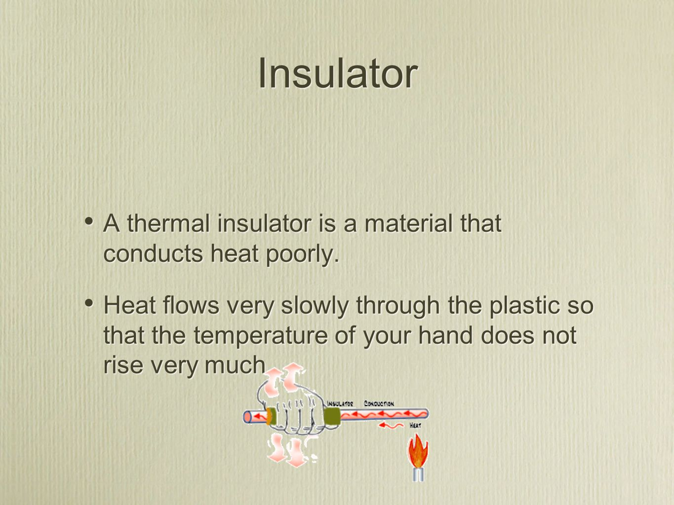 Insulator A thermal insulator is a material that conducts heat poorly. Heat flows very slowly through the plastic so that the temperature of your hand