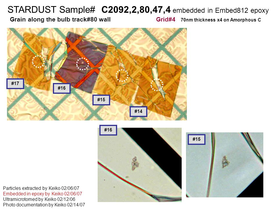 STARDUST Sample# C2126,2,68,2,1 embedded in cyanoacrylete STARDUST Sample# C2092,2,80,47,4 embedded in Embed812 epoxy Grain along the bulb track#80 wall Grid#4 70nm thickness x4 on Amorphous C Particles extracted by Keiko 02/06/07 Embedded in epoxy by Keiko 02/06/07 Ultramicrotomed by Keiko 02/12/06 Photo documentation by Keiko 02/14/07 #15 #16 #14 #17 #15 #16