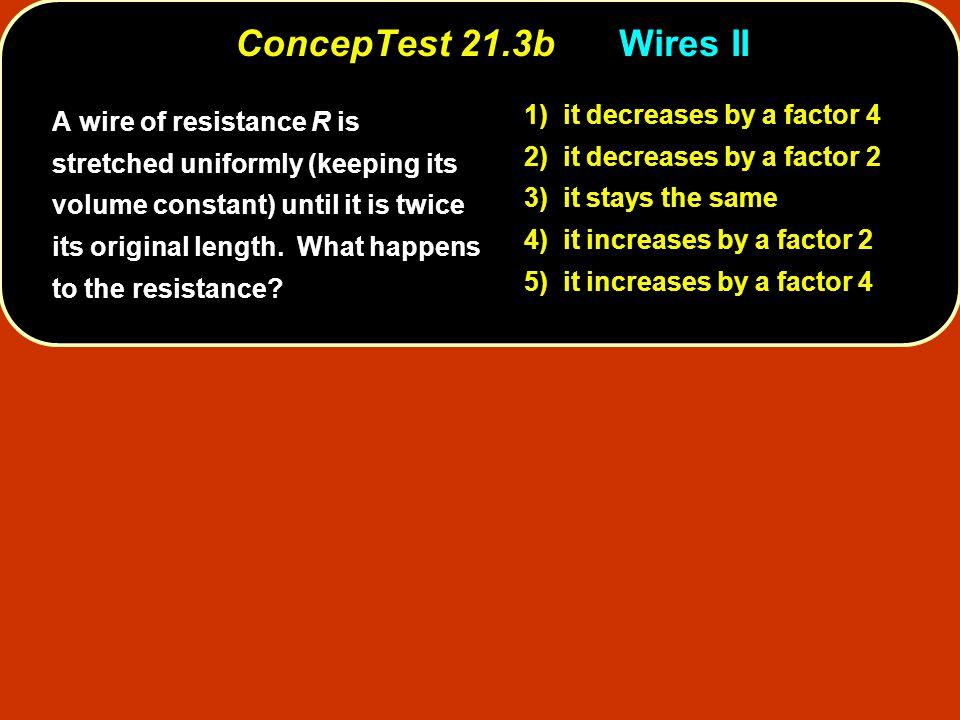 ConcepTest 21.16bCapacitors II ConcepTest 21.16b Capacitors II 1) V 1 = V 2 2) V 1 > V 2 3) V 1 < V 2 4) all voltages are zero C 1 = 1.0  F C 3 = 1.0  F C 2 = 1.0  F 10 V The voltage across C 1 is 10 V.