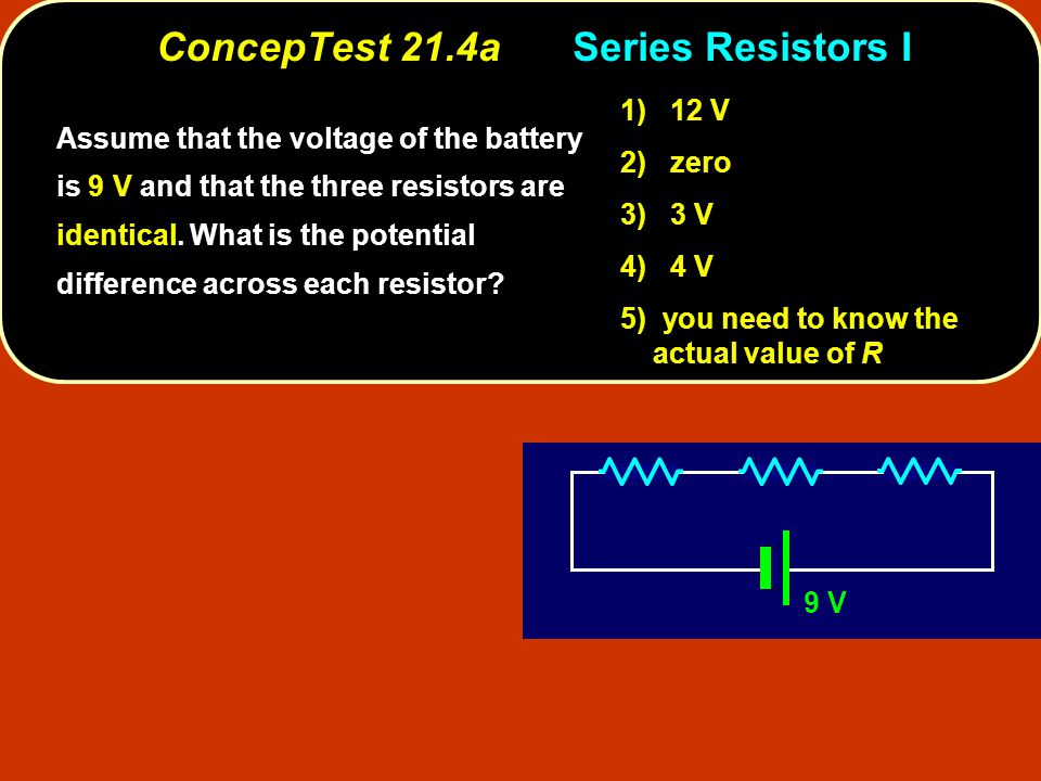 ConcepTest 21.16cCapacitors III ConcepTest 21.16c Capacitors III C 1 = 1.0  F C 3 = 1.0  F C 2 = 1.0  F 10 V Q = CVsame since V 1 > V 2 Q 1 > Q 2 We already know that the voltage across C 1 is 10 V and the voltage across both C 2 and C 3 is 5 V each.