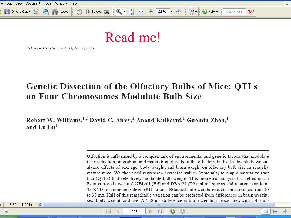 Read Me! Grisel JEGrisel JE. Quantitative trait locus analysis.Alcohol Res Health. 2000;24(3):169-74.
