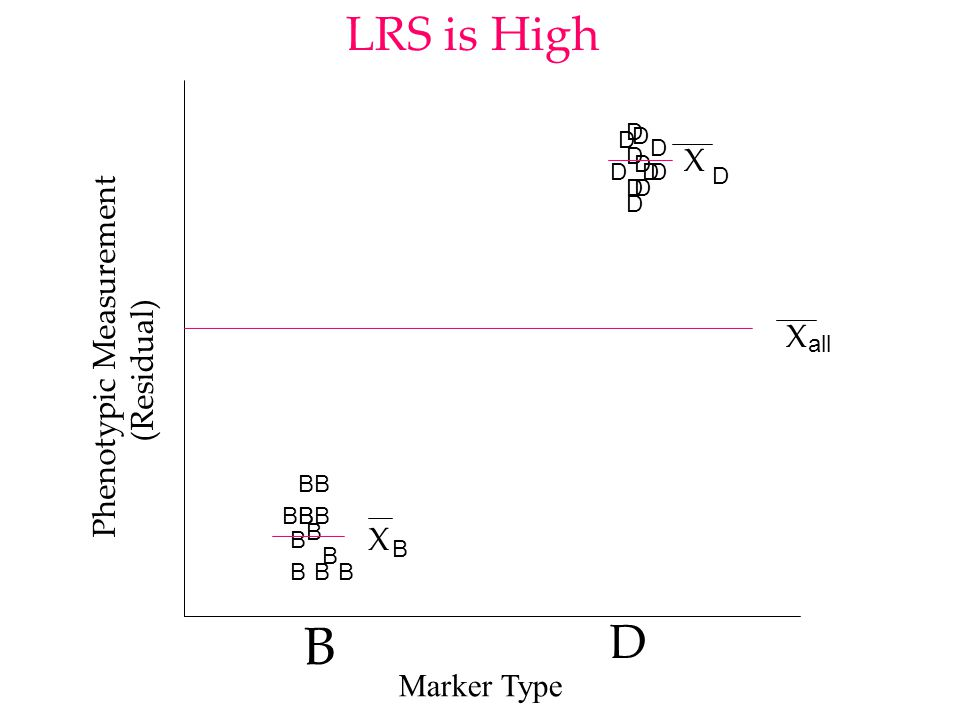 B D B B B B B B B B B B B B D D D D D D D D D D D D Phenotypic Measurement (Residual) LRS is LOW X all X D X B Marker Type