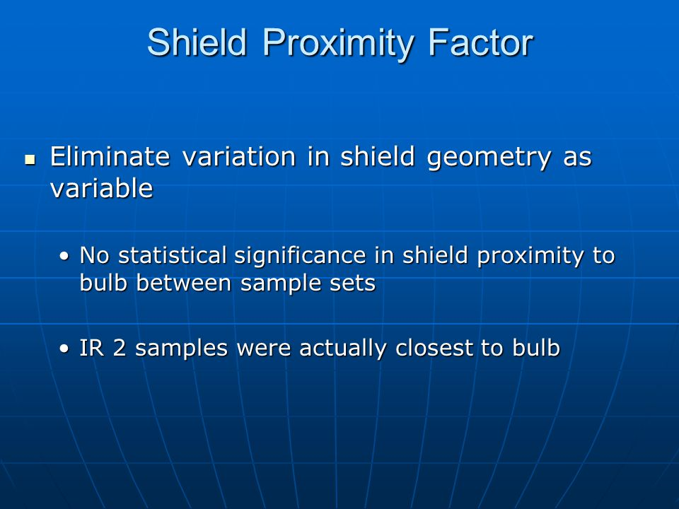 Shield Proximity Factor Eliminate variation in shield geometry as variable Eliminate variation in shield geometry as variable No statistical significance in shield proximity to bulb between sample setsNo statistical significance in shield proximity to bulb between sample sets IR 2 samples were actually closest to bulbIR 2 samples were actually closest to bulb