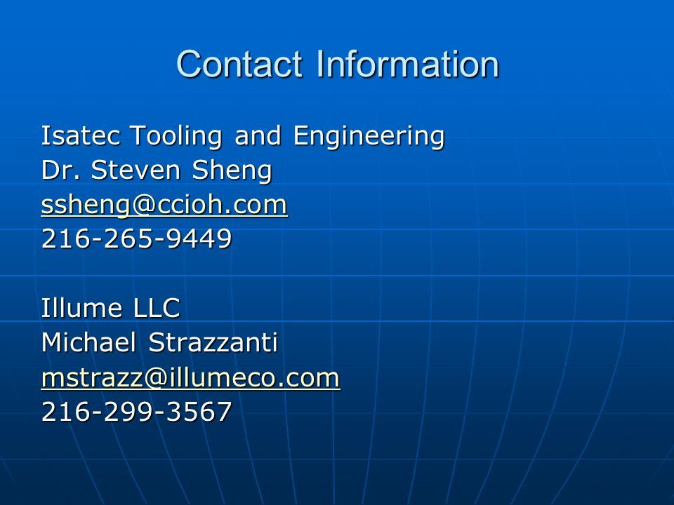 Contact Information Isatec Tooling and Engineering Dr.