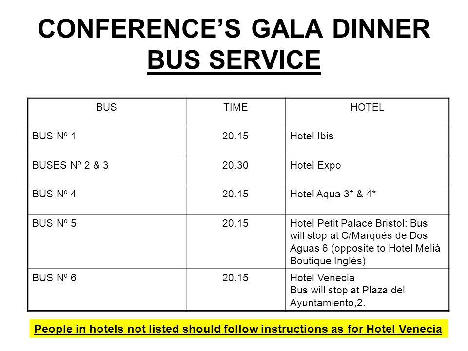 CONFERENCE'S GALA DINNER BUS SERVICE BUSTIMEHOTEL BUS Nº 120.15Hotel Ibis BUSES Nº 2 & 320.30Hotel Expo BUS Nº 420.15Hotel Aqua 3* & 4* BUS Nº 520.15H