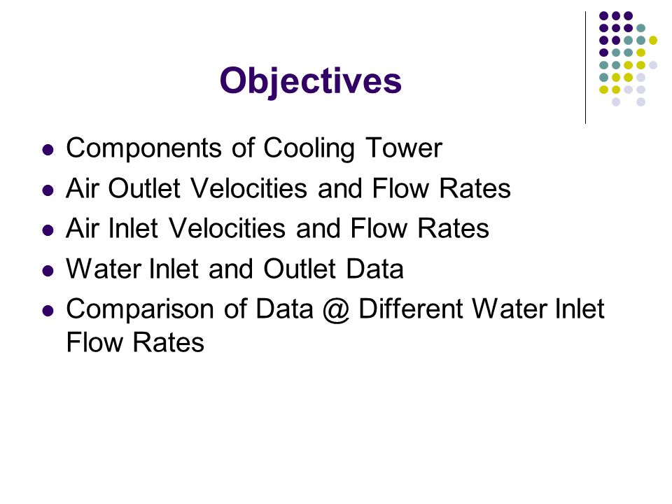 Objectives Components of Cooling Tower Air Outlet Velocities and Flow Rates Air Inlet Velocities and Flow Rates Water Inlet and Outlet Data Comparison of Data @ Different Water Inlet Flow Rates