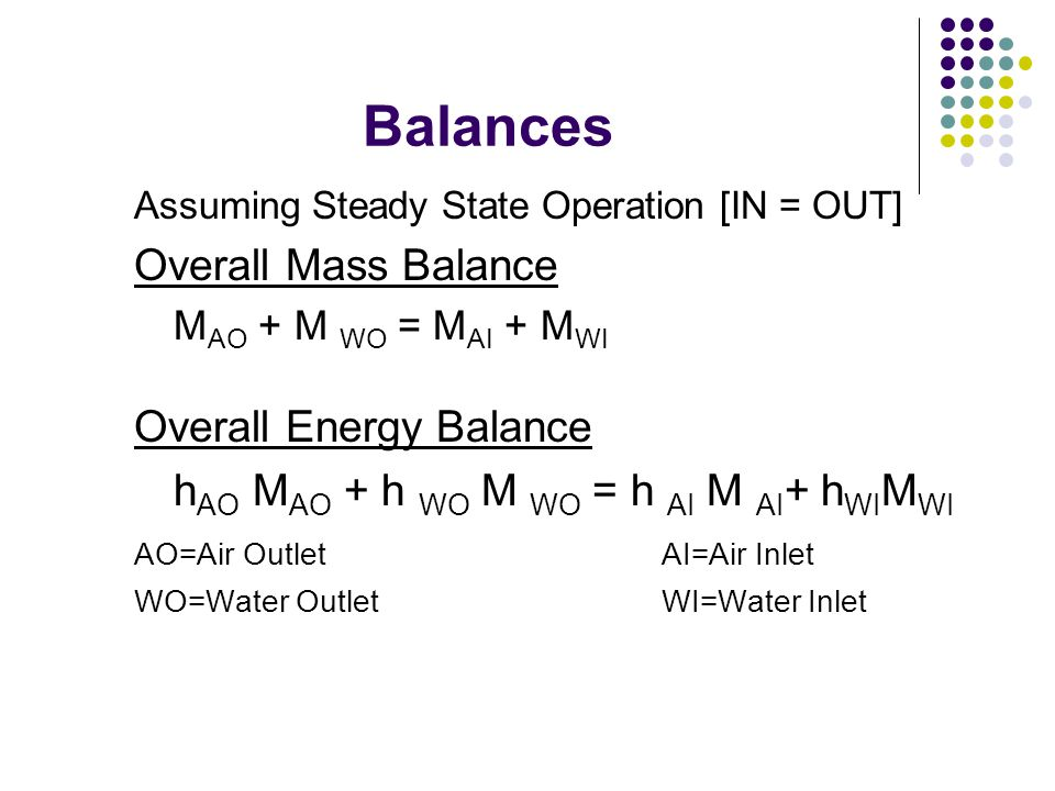 Balances Assuming Steady State Operation [IN = OUT] Overall Mass Balance M AO + M WO = M AI + M WI Overall Energy Balance h AO M AO + h WO M WO = h AI M AI + h WI M WI AO=Air Outlet AI=Air Inlet WO=Water OutletWI=Water Inlet
