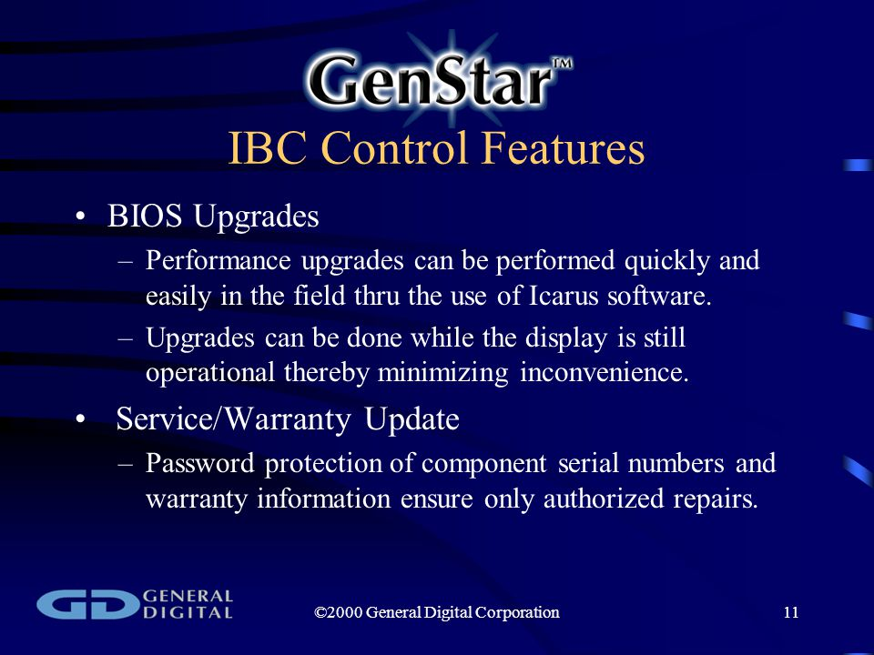 ©2000 General Digital Corporation11 IBC Control Features BIOS Upgrades –Performance upgrades can be performed quickly and easily in the field thru the use of Icarus software.