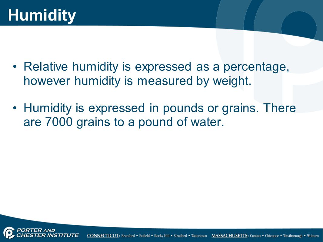 Humidity Relative humidity is expressed as a percentage, however humidity is measured by weight.