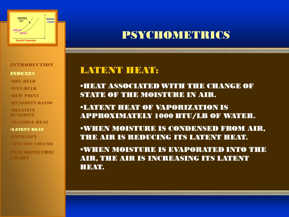 PSYCHOMETRICS INTRODUCTION INDEXES  DRY-BULB  WET-BULB  DEW POINT  HUMIDITY RATIO  RELATIVE HUMIDITY  SENSIBLE HEAT  LATENT HEAT  ENTHALPY  S