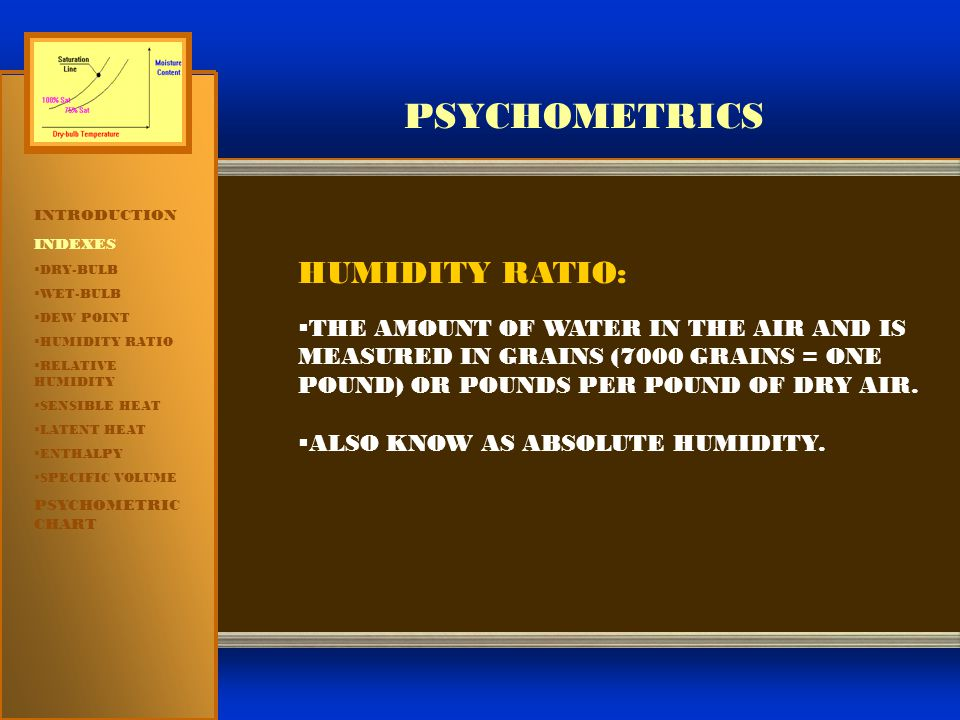 PSYCHOMETRICS INTRODUCTION INDEXES  DRY-BULB  WET-BULB  DEW POINT  HUMIDITY RATIO  RELATIVE HUMIDITY  SENSIBLE HEAT  LATENT HEAT  ENTHALPY  SPECIFIC VOLUME PSYCHOMETRIC CHART HUMIDITY RATIO