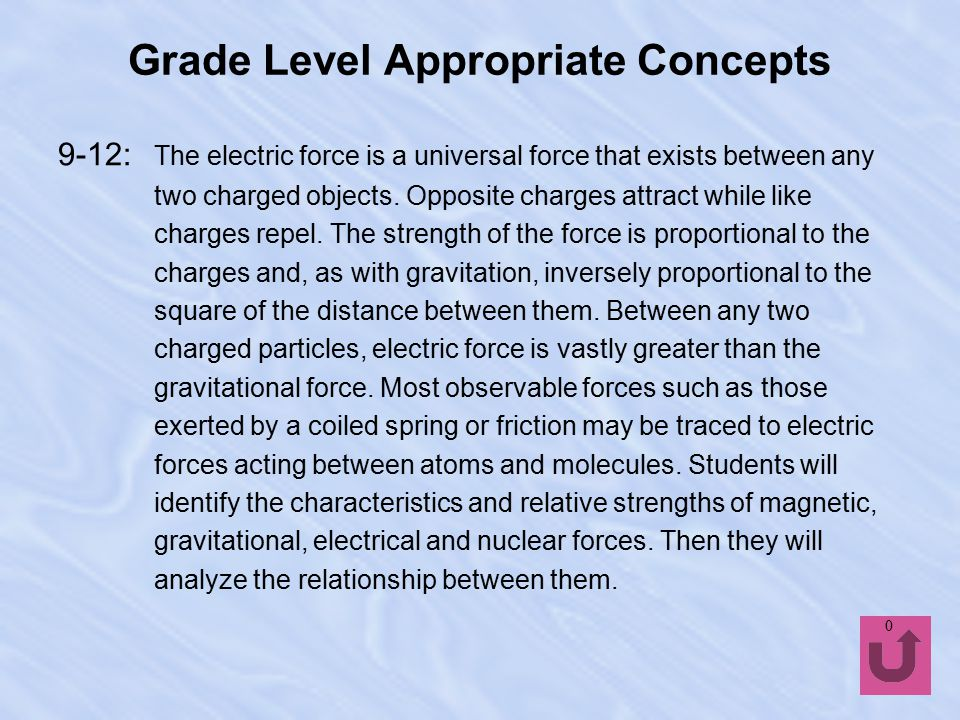 Grade Level Appropriate Concepts 5-8: Unbalanced forces cause changes in an object's motion.