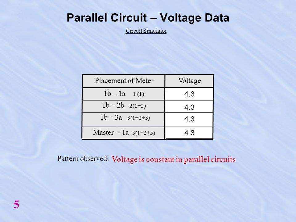 1b - 1a Parallel Circuits - Obtaining Voltage Data 3 1b - 2a 1b - 3a 1a - Master