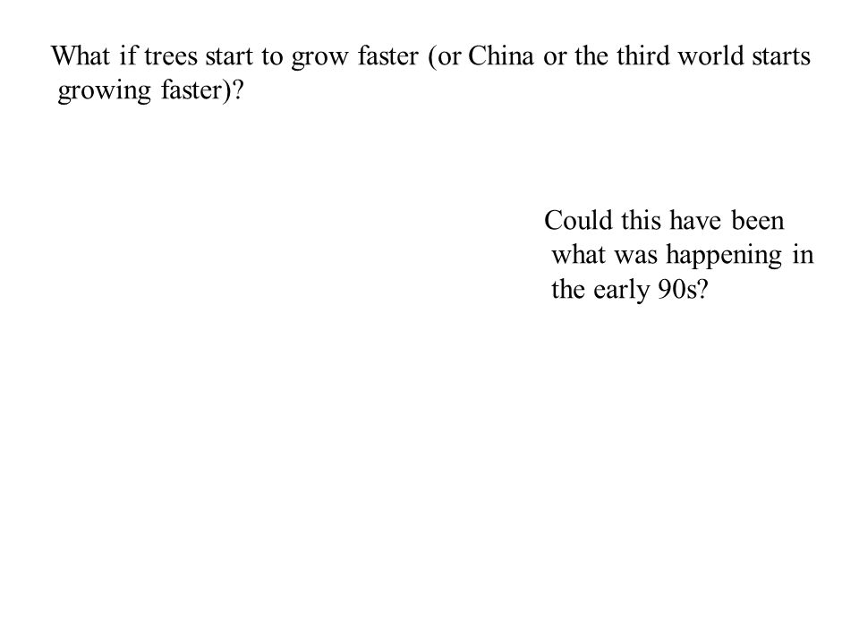 What if trees start to grow faster (or China or the third world starts growing faster).