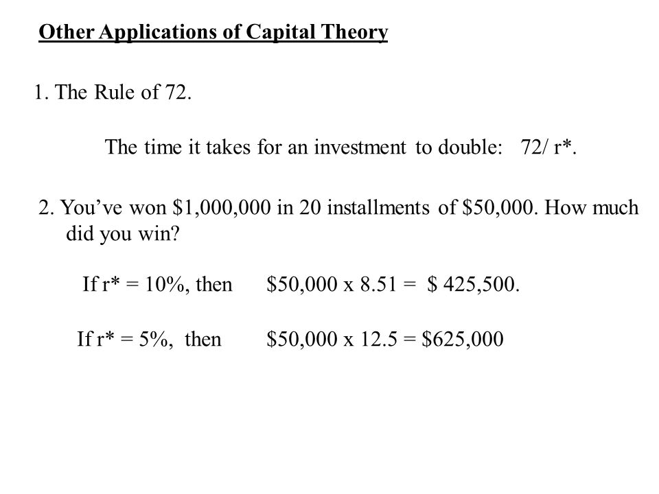 Other Applications of Capital Theory 1. The Rule of 72.