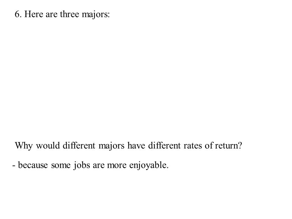6. Here are three majors: Why would different majors have different rates of return.