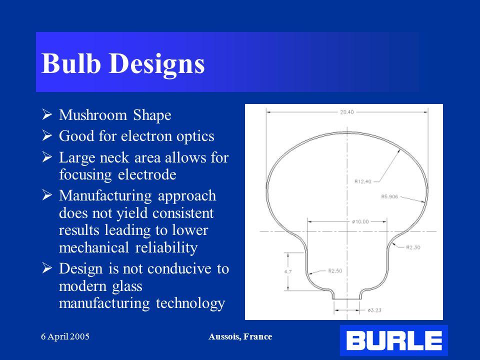 6 April 2005Aussois, France Bulb Designs  Mushroom Shape  Good for electron optics  Large neck area allows for focusing electrode  Manufacturing a