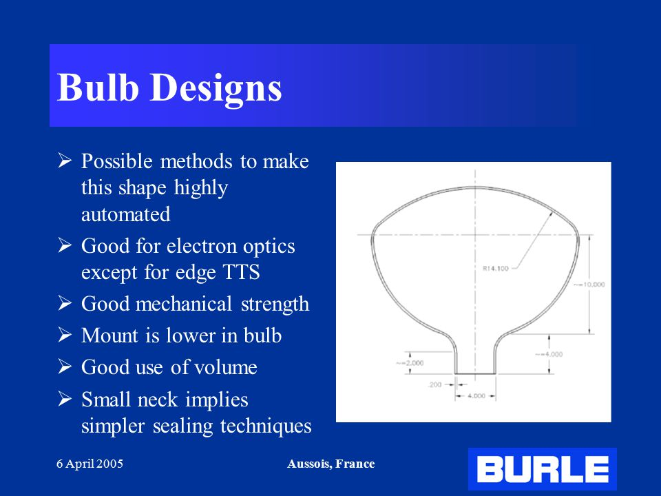 6 April 2005Aussois, France Bulb Designs  Possible methods to make this shape highly automated  Good for electron optics except for edge TTS  Good