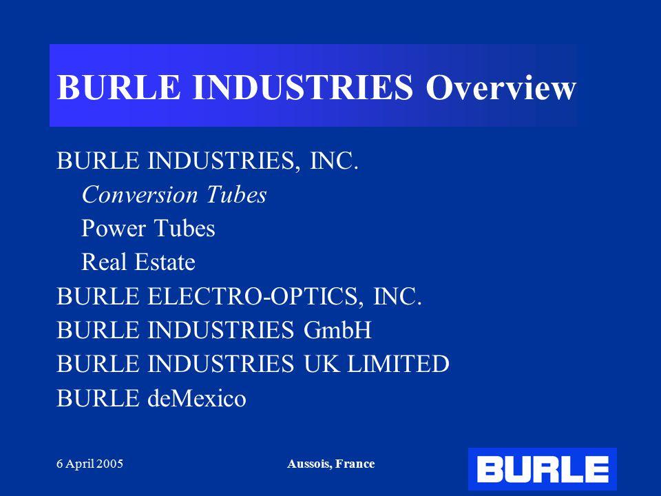 6 April 2005Aussois, France BURLE INDUSTRIES Overview BURLE INDUSTRIES, INC. Conversion Tubes Power Tubes Real Estate BURLE ELECTRO-OPTICS, INC. BURLE
