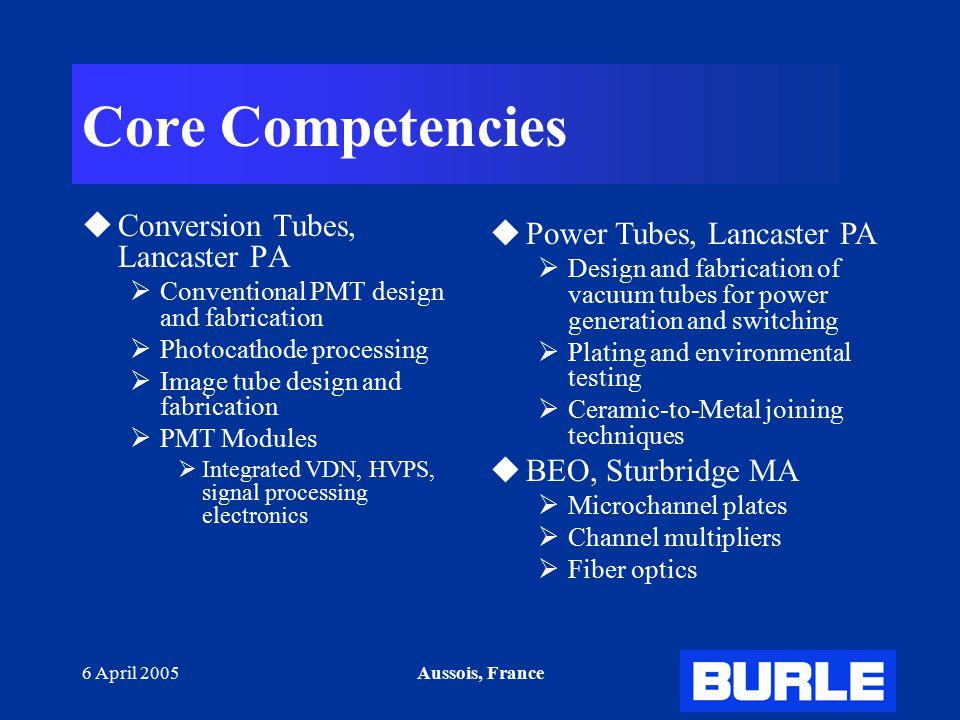 6 April 2005Aussois, France Core Competencies  Conversion Tubes, Lancaster PA  Conventional PMT design and fabrication  Photocathode processing  I