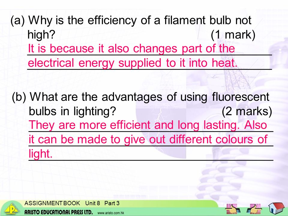 ASSIGNMENT BOOK Unit 8 Part 3 (a) Why is the efficiency of a filament bulb not high.