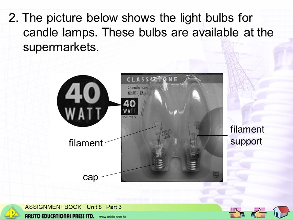 ASSIGNMENT BOOK Unit 8 Part 3 2.The picture below shows the light bulbs for candle lamps.