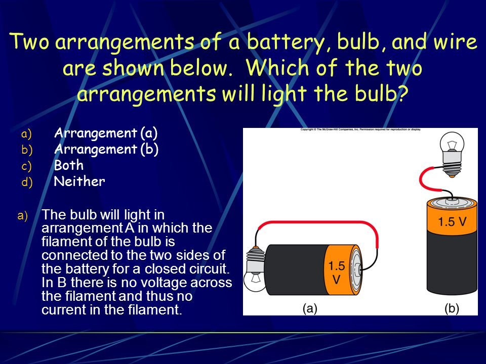 Two arrangements of a battery, bulb, and wire are shown below.