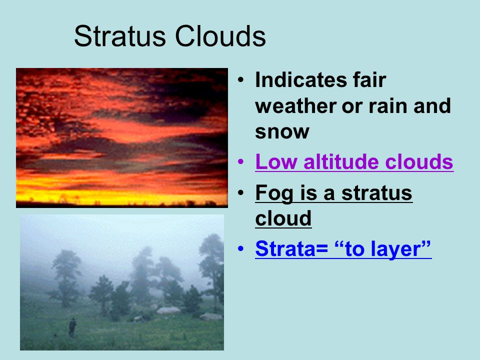 Stratus Clouds Indicates fair weather or rain and snow Low altitude clouds Fog is a stratus cloud Strata= to layer