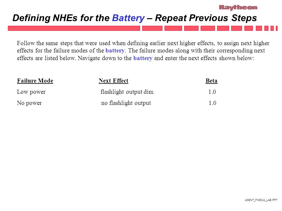 ASENT_FMECA_LAB.PPT Defining NHEs for the Battery – Repeat Previous Steps Follow the same steps that were used when defining earlier next higher effects, to assign next higher effects for the failure modes of the battery.