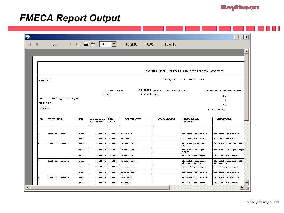 ASENT_FMECA_LAB.PPT FMECA Report Output